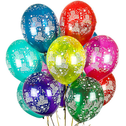 """Фото 1 - Тематична кулька """"З днем народження"""" 12""""(28-30 см) наповнена гелієм."""