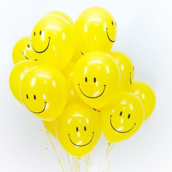 """Фото 34 - Тематична кулька Смайл 12""""(28-30 см) наповнена гелієм."""