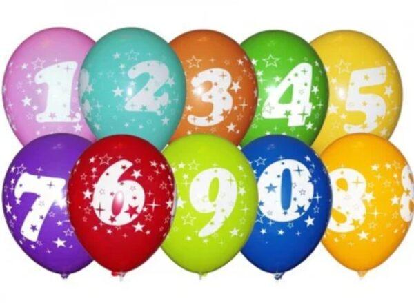"Фото 33 - Тематична кулька Цифра 12""(28-30 см) наповнена гелієм."