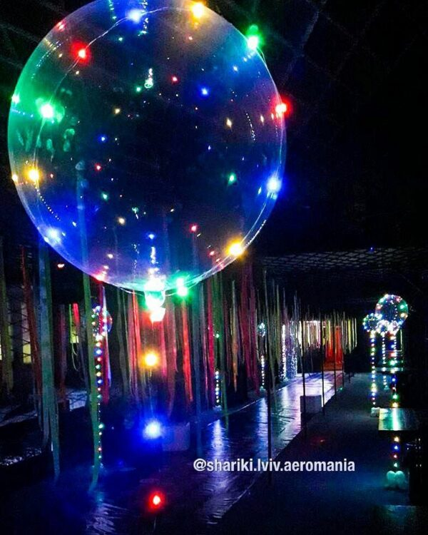 Фото 23 - Куля прозора Bubbles з діодами.