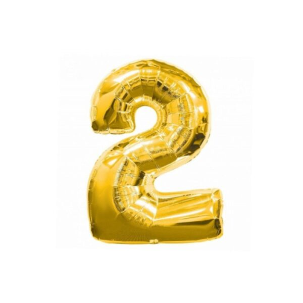 "Фото 33 - Фольгована кулька цифра 2 ""золота"" (70 см.)."