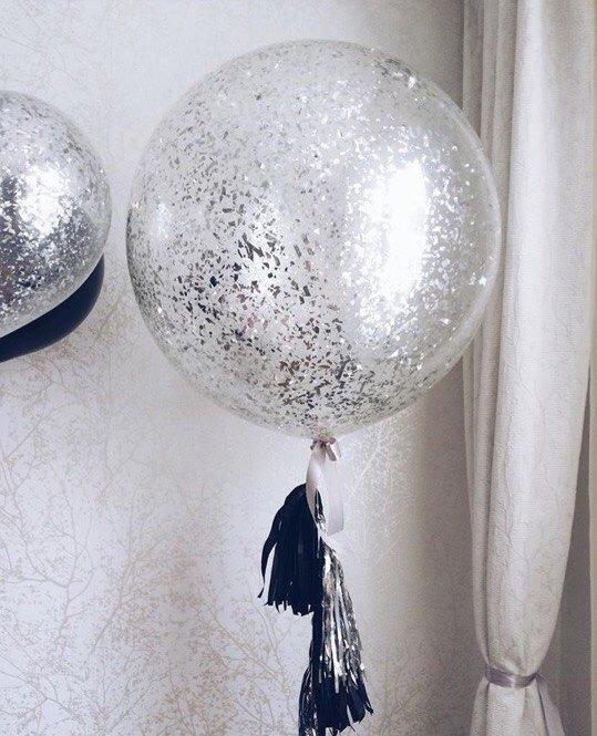 Фото 31 - Мега куля прозора 80см діаметр з серпантином-мішура і паперовим хвостом.