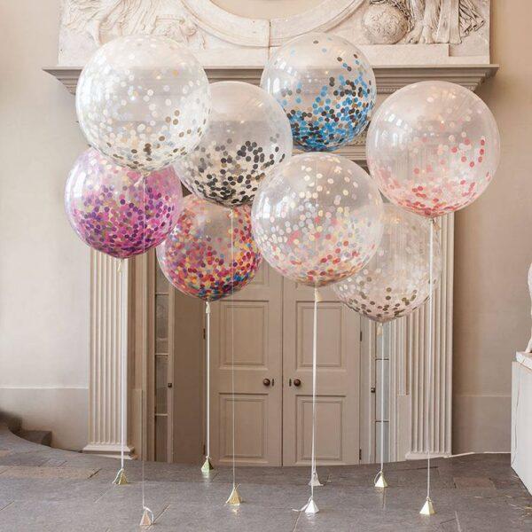 Фото 29 - Мега куля прозора 80см діаметр з конфеті кружечки.
