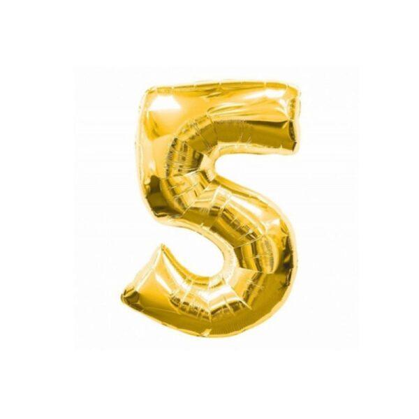 "Фото 34 - Фольгована кулька цифра 5 ""золота"" (70 см.)."