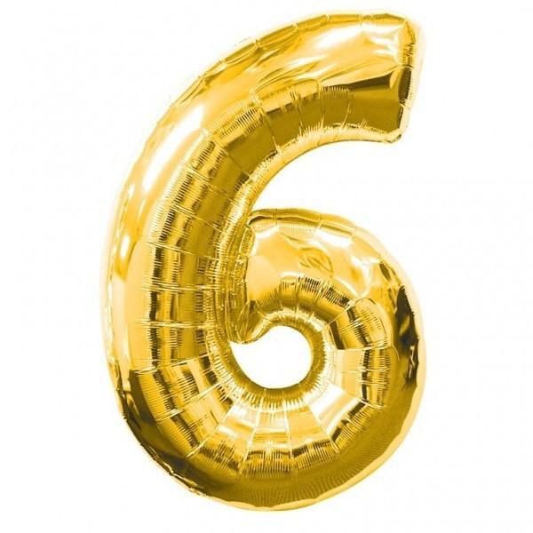 "Фото 23 - Фольгована кулька цифра 6 ""золота"" (70 см.)."