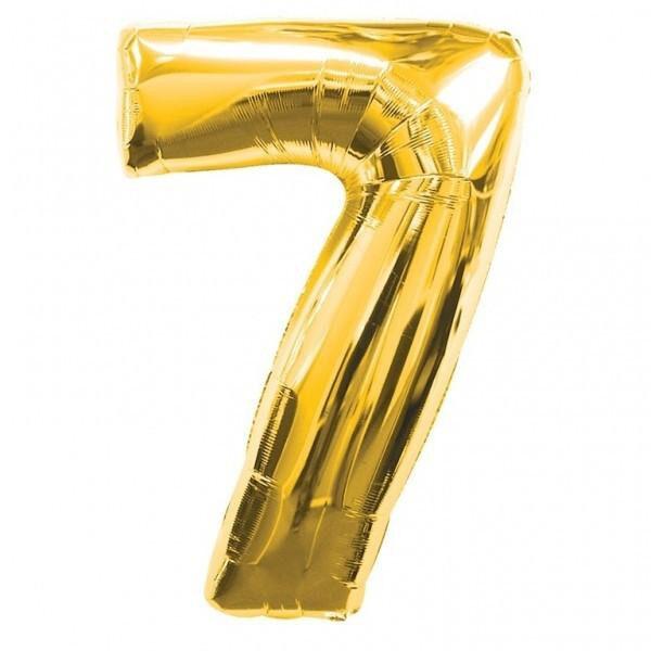 "Фото 30 - Фольгована кулька цифра 7 ""золота"" (70 см.)."