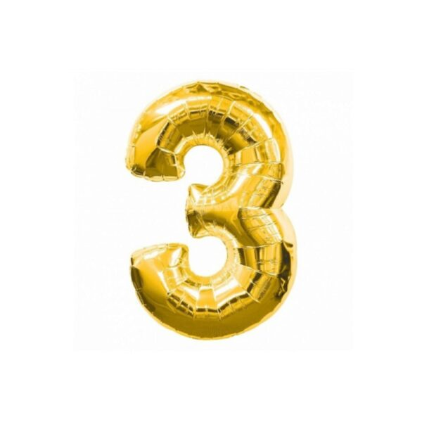 "Фото 31 - Фольгована кулька цифра 3 ""золота"" (70 см.)."