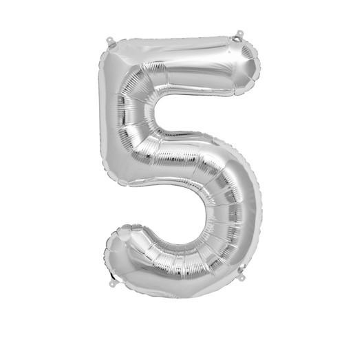 """Фото 28 - Фольгована кулька цифра 5 """"срібна"""" (70 см.)."""