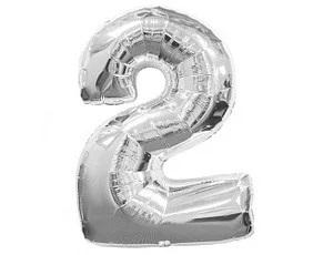 """Фото 30 - Фольгована кулька цифра 2 """"срібна"""" (70 см.)."""