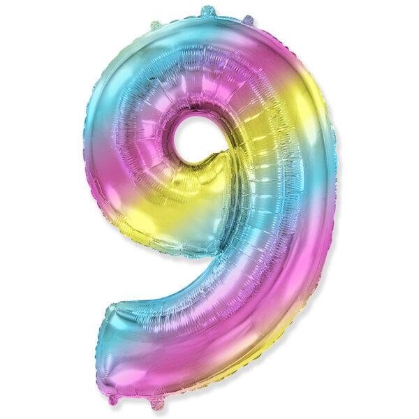 """Фото 23 - Фольгована кулька цифра 9 """"градієнт"""" (70 см.)."""