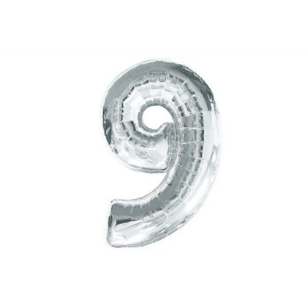 """Фото 25 - Фольгована кулька цифра 9 """"срібна"""" (70 см.)."""