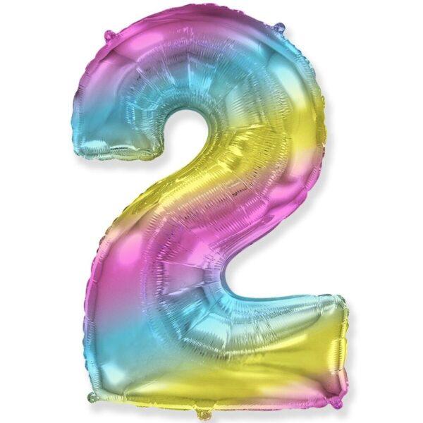 """Фото 27 - Фольгована кулька цифра 2 """"градієнт"""" (70 см.)."""