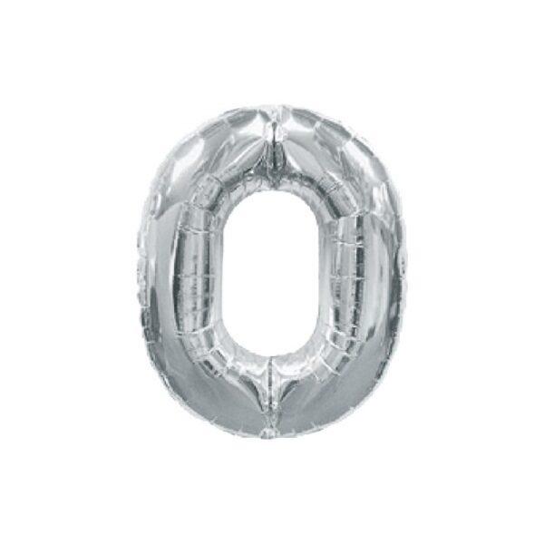 """Фото 25 - Фольгована кулька цифра 0 """"срібна"""" (70 см.)."""