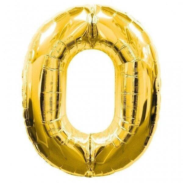 "Фото 1 - Фольгована кулька цифра 0 ""золота"" (70 см.)."