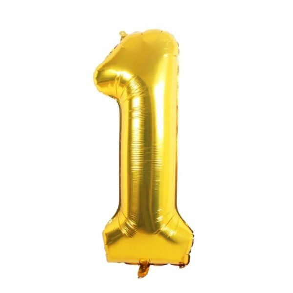 "Фото 28 - Фольгована кулька цифра 1 ""золота"" (70 см.)."