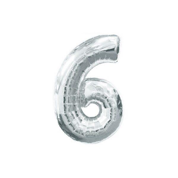 """Фото 29 - Фольгована кулька цифра 6 """"срібна"""" (70 см.)."""