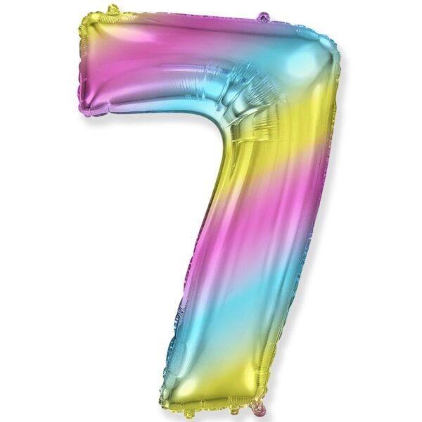 """Фото 23 - Фольгована кулька цифра 7 """"градієнт"""" (70 см.)."""