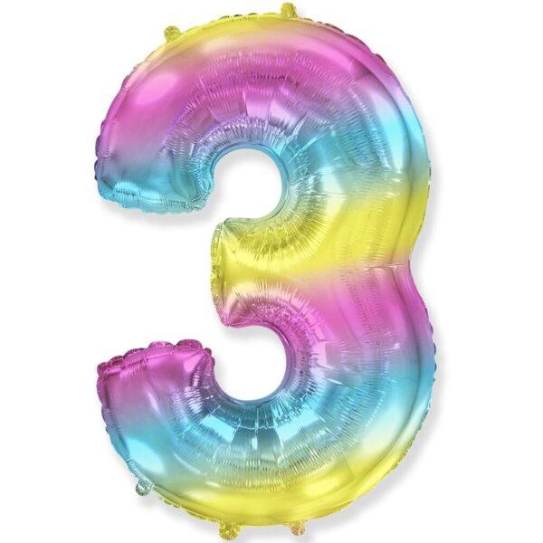 """Фото 27 - Фольгована кулька цифра 3 """"градієнт"""" (70 см.)."""