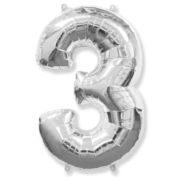 """Фото 29 - Фольгована кулька цифра 3 """"срібна"""" (70 см.)."""