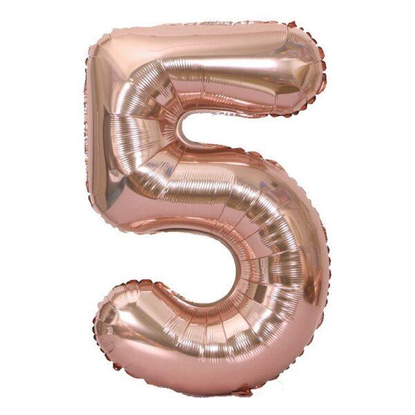 "Фото 30 - Фольгована кулька цифра 5 ""рожеве золото"" (70 см.)."
