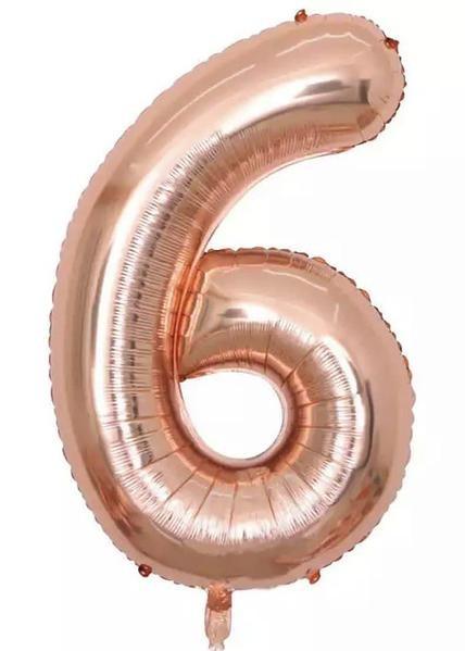 "Фото 1 - Фольгована кулька цифра 6 ""рожеве золото"" (70 см.)."