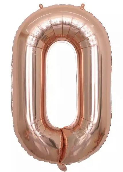 "Фото 1 - Фольгована кулька цифра 0 ""рожеве золото"" (70 см.)."