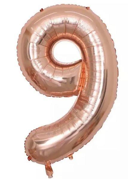 "Фото 1 - Фольгована кулька цифра 9 ""рожеве золото"" (70 см.)."