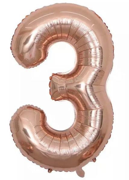 "Фото 1 - Фольгована кулька цифра 3 ""рожеве золото"" (70 см.)."