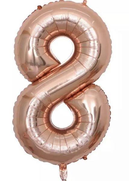 "Фото 24 - Фольгована кулька цифра 8 ""рожеве золото"" (70 см.)."