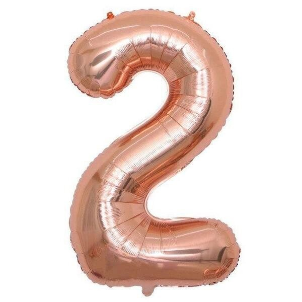"Фото 1 - Фольгована кулька цифра 2 ""рожеве золото"" (70 см.)."